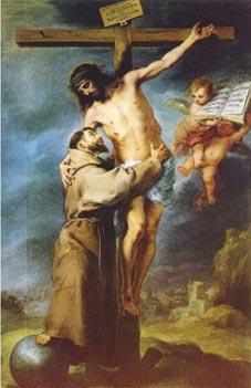São Francisco abraça a Cristo (Bartolomé Murillo)