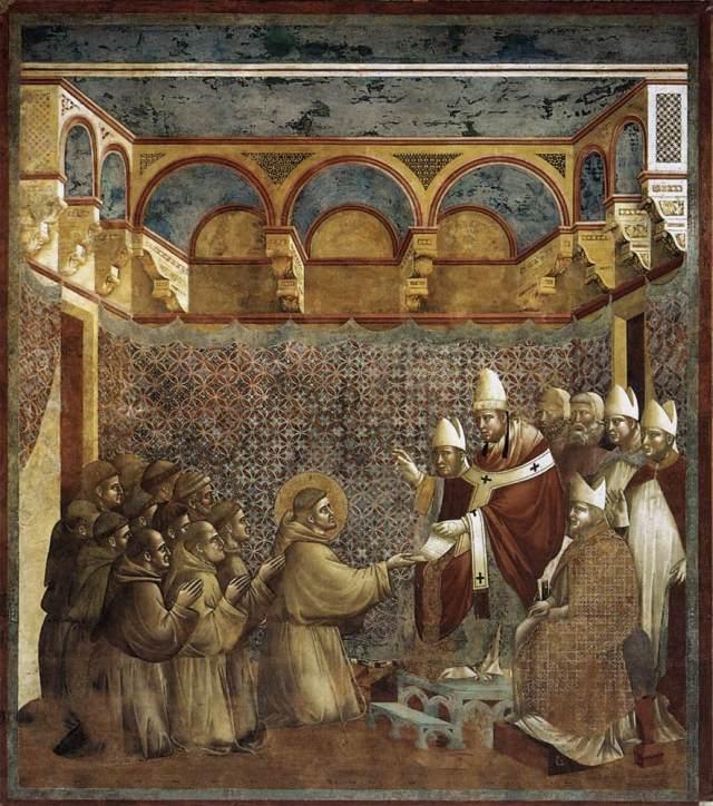 São Francisco e seus frades diante do papa Inocêncio III e sua corte