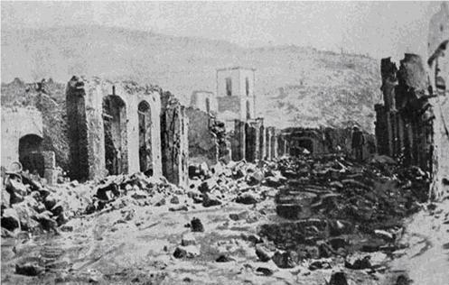 Ruinas da cidade de São Pedro da Martinica depois da erupção