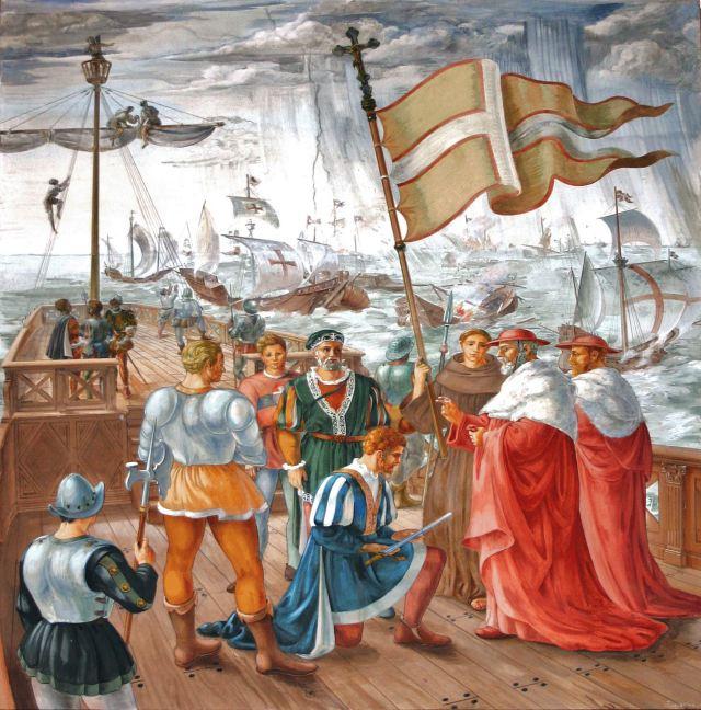 Batalha de Lepanto em 1571, D. João de Áustria e cardeais. Afresco em Ain Karim, Israel, na igreja franciscana da Visitação.
