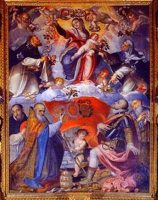 São Pio V atribui a Nossa Senhora do Rosário a Vitória na Batalha de Lepanto, por Grazio Cossali