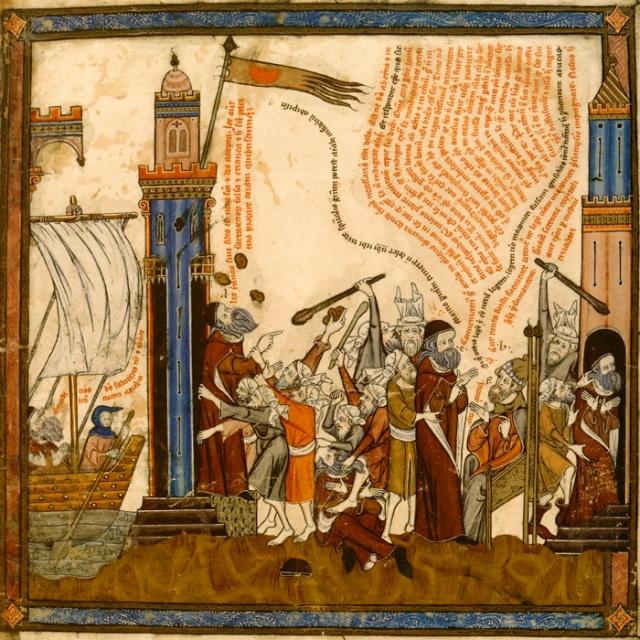Cenas da pregação de Raimundo Lúlio e da hostilidade de seu publico.