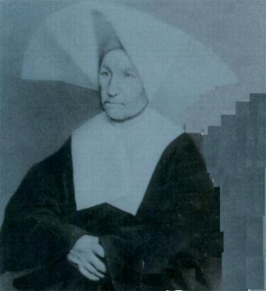 Santa Catarina Labouré já idosa. Fotografia tirada três meses antes de sua morte, em 31 de Dezembro de 1876.
