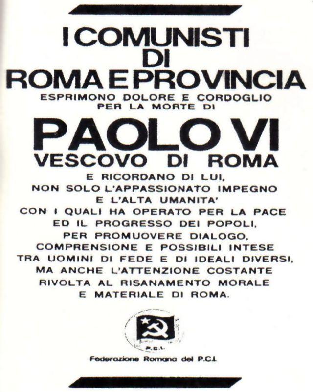 Homenagem dos comunistas ateus a Paulo VI