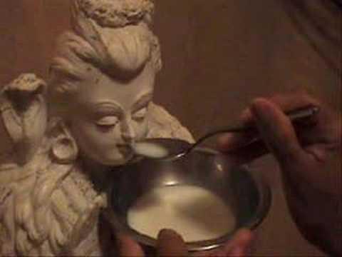 Fiel alimentando com leite um ídolo hindu